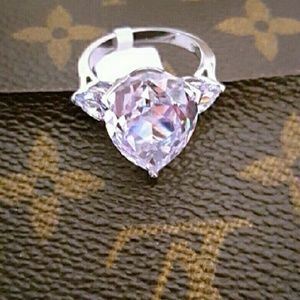 New Huge Pear White Sapphire Ring TK316 Size 8